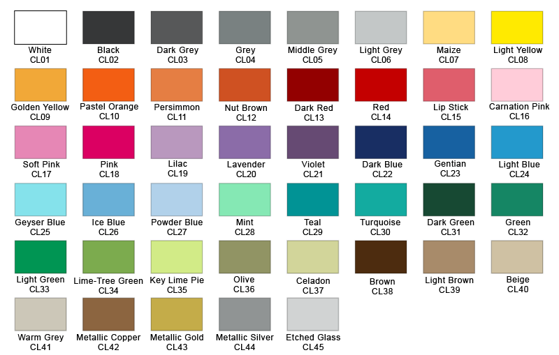 Colors vinyl wall decals wall stickers designs by for Oil paint colors names